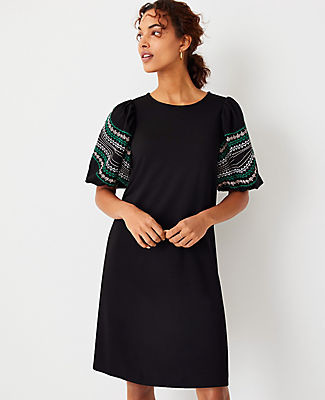 Ann Taylor Petite Embroidered Sleeve Ponte Shift Dress