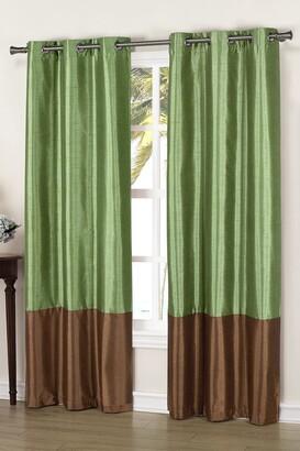 Duck River Textile Bridgette Faux Silk Thermal Blackout Curtain - Set of 2 - Sage/Chocolate