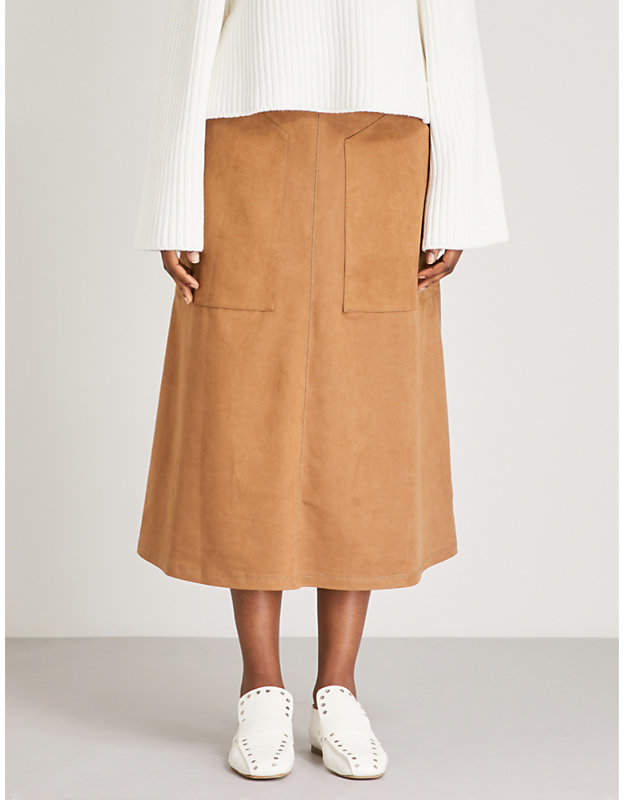 Vilshenko Carrie high-rise faux-suede midi skirt