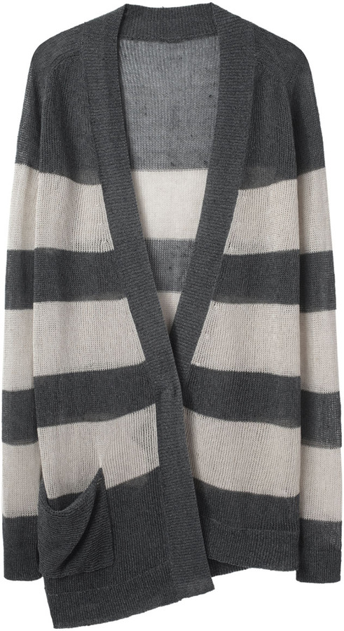 VPL Striped Asymmetric Cardigan