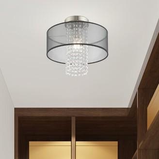 Mercer41 Haney 1 - Light Chandelier Style Drum Semi Flush Mount Shade Color: Translucent, Size: 13.5'' H x 15'' W x 15'' D