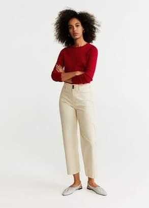 MANGO Scalloped details sweater red - XXS - Women