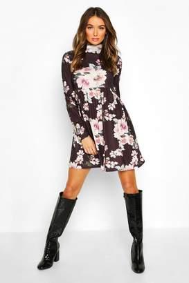 boohoo Funnel Neck Floral Jersey Smock Dress