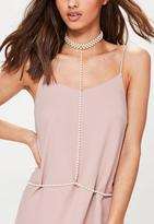 Missguided Cream Pearl Drop Detail Choker Necklace, Cream