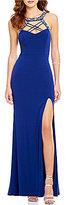 Jodi Kristopher Jewel Outlined Lace-Up Yoke Long Dress