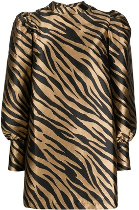 Andamane Zebra Print Puff-Sleeve Dress