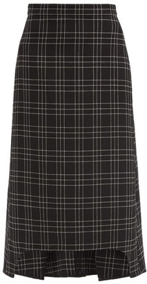 Alexander McQueen Checked Wool Midi Skirt - Black White