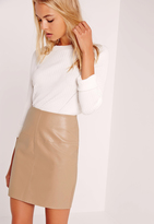 Missguided Faux Leather Mini Skirt Tan