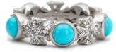 Elizabeth Showers Turquoise/Sapphire Maltese Eternity Ring, White, Size 7