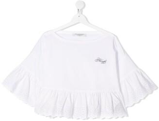 Philosophy Di Lorenzo Serafini Kids TEEN cropped ruffled blouse