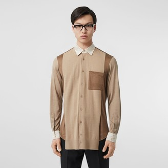 Burberry Classic Fit Panelled Silk and Merino Wool Shirt
