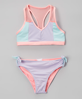 Jantzen Pastel Retro Summer Color Block Mesh-Accent Bikini - Girls