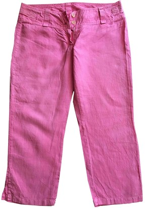120% Lino Pink Linen Trousers for Women