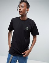Stussy T-shirt With Small Embroidered Rose Logo