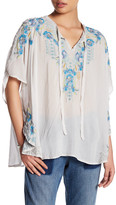 Johnny Was Embroidered Split Neck Blouse