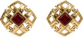 One Kings Lane Vintage 1980s Chanel Square Red Gripoix Earrings