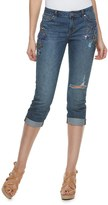 JLO by Jennifer Lopez Women's Ripped Embellished Capri Jeans