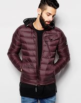 G-star Quilted Hooded Jacket Revend Down Filled Nylon Zipthru - Red