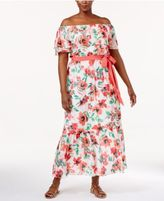 Jessica Howard Plus Size Printed Off-The-Shoulder Maxi Dress