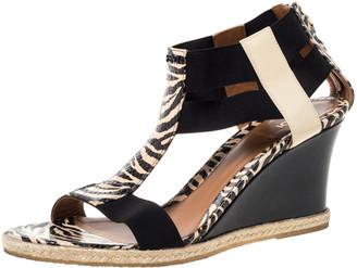 Fendi Black/Beige Zebra Print Python Embossed Leather T-Strap Wedge Sandals Size 39
