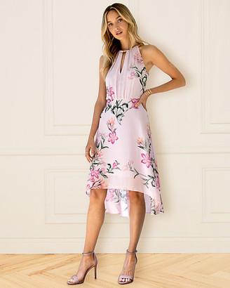 Le Château Floral Print Chiffon Keyhole Dress