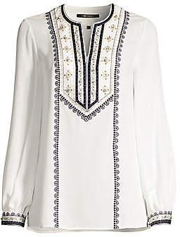 Kobi Halperin Women's Sandi Floral-Embroidered Puff-Sleeve Silk Blouse