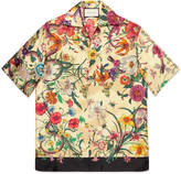 Gucci Flora Snake print silk bowling shirt