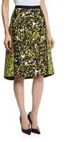Oscar de la Renta Floral-Print Structured A-Line Skirt, Citron/Black