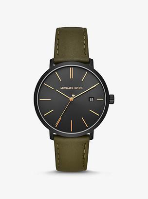 Michael Kors Blake Black-Tone and Leather Watch - Olive