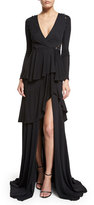 Roberto Cavalli Long-Sleeve Tiered High-Slit Gown, Black