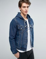 Asos Hooded Denim Jacket in Mid Wash Indigo