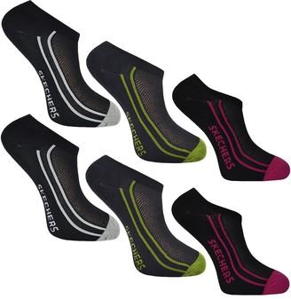 Skechers Ladies No Show Trainer Liner Socks 6 Pairs (Colour C)