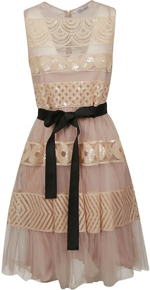 RED Valentino Belted Flared Lace Dress