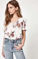 La Hearts Lace-Up Woven Top