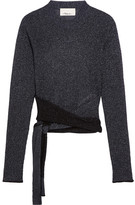 3.1 Phillip Lim Tie-front Metallic Ribbed-knit Sweater - Storm blue