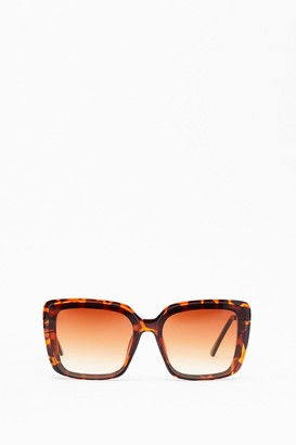 Nasty Gal Womens Leopard On the Street Square Sunglasses - Brown