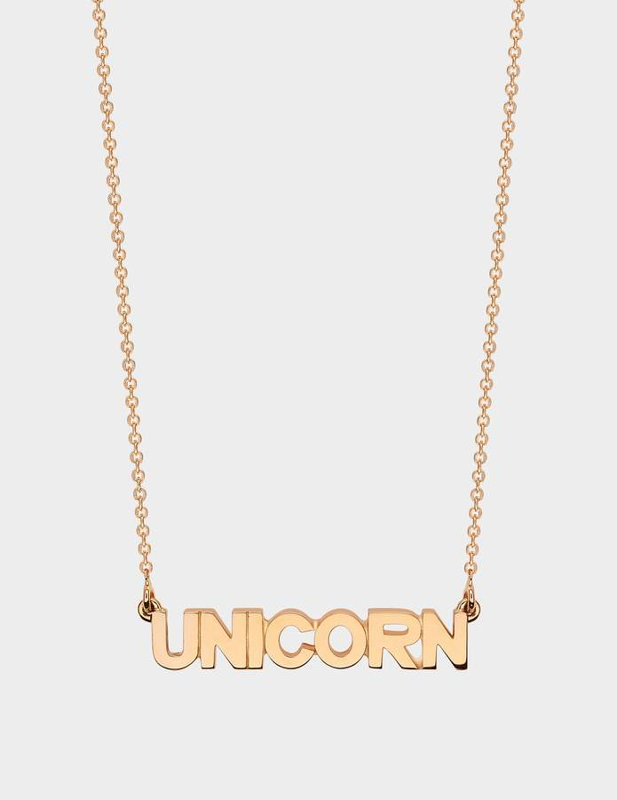 ginette_ny Fairy Unicorn Necklace in 18K Rose Gold