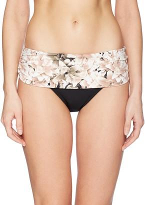 Calvin Klein Women's Solid fold Over Waistband Full Bikini Bottom Swimsuit
