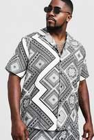 BoohooMAN Big & Tall Chevron Tile Print Revere Collar Shirt