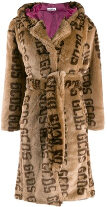 GCDS Faux fur logo coat