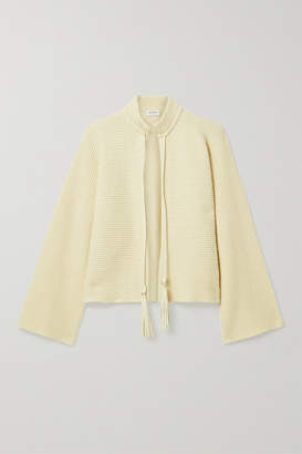 Salvatore Ferragamo Leather-trimmed Ribbed Cashmere And Cotton-blend Cardigan - Cream