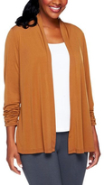 Caramel Ruched-Sleeve Open Cardigan - Plus Too