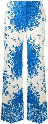 Valentino Floral-Print Wide-Leg Trousers