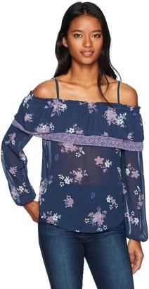 Jolt Women's Twin Floral Printed Cold Shoulder Top