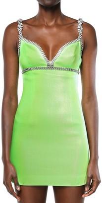 Area Embellished Stretch Lame Mini Dress