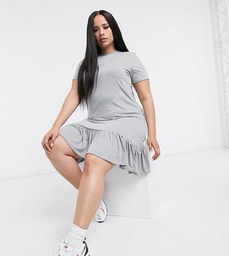 Yours frill hem mini t-shirt dress in grey