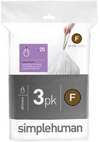 Simplehuman Three Pack 20 Custom-Fit Trash Can Liners-Code F