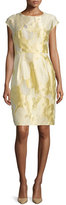 Escada Cap-Sleeve Floral Sheath Dress, Limoncello