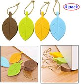 Silicone Door Stopper Wedge Finger Protector, 4 Pack Premium Cute Colorful Cartoon Leaf kid's Style Flexible Silicone Window/ Door Stops set with Lanyard for Home Garden Office
