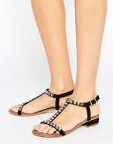 Little Mistress Black Sandals with T-bar and Gold Studs